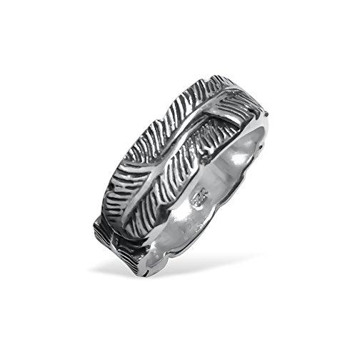 Piuma Design anello anello in argento Sterling 925ossidato, argento, 59 (18.8), cod. BS-RING-114-9