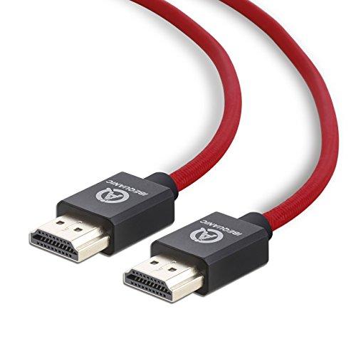 IBEQUANIC 4K Ultra HD Câble HDMI 5M , Cable HDMI 2.0 haut débit Compatible Ethernet / 3D / retour audio /4K Ultra HD / Câble en Nylon Tressé en cuivre Rouge 15ft
