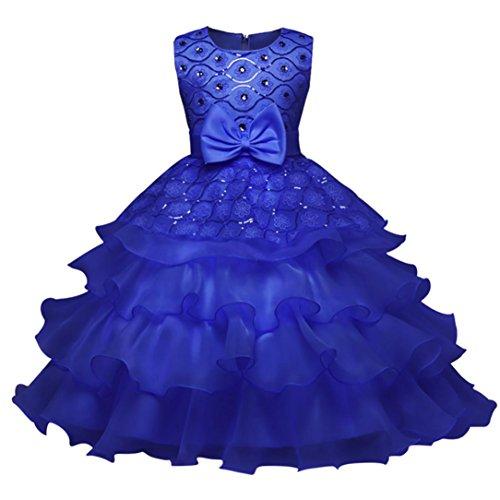 aby-Mädchen-Prinzessin Bridesmaid Festzug-Kleid-Geburtstags-Party-Hochzeits-Kleid (130/5Jahr, Dunkelblau) (Besten Kleid Für Kinder)