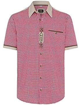 OS Trachten Moser Trachten Trachtenhemd Kurzarm Rot Karo 112335 von, Material Baumwolle