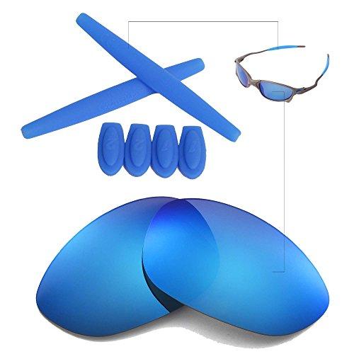 Walleva Wechselgläser Und Earsocks für Oakley X Metal XX Sonnenbrille - Mehrfache Optionen (Eisblau Polarisierte Linsen + Blauer Gummi)