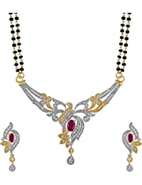 KAAYRA American Diamond Gold Plated Mangalsutra With Chain And Earring For Women - B0773V551Z