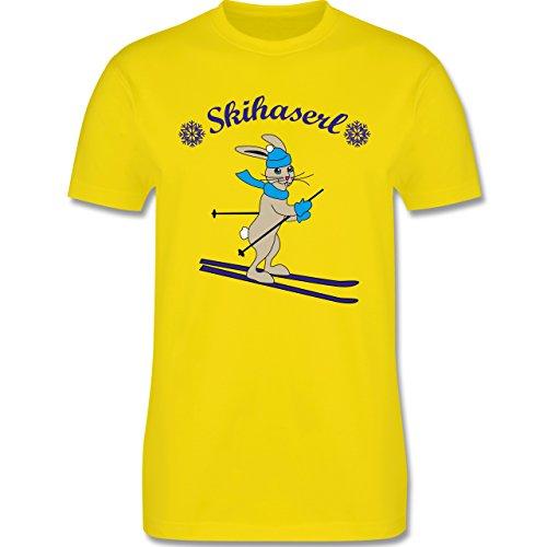 Wintersport - Skihaserl - Herren Premium T-Shirt Lemon Gelb