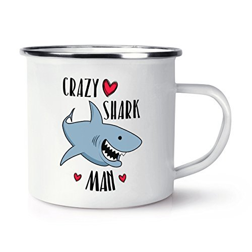Crazy Shark (Crazy Shark Mann Retro Emaille Becher)