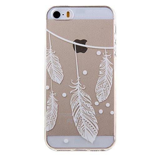 Kakashop White Floral Paisley Flower Mandala TPU silicone souple transparent verre Coque Cover Case pour iPhone 5/5S (éléphant tribal) plumes