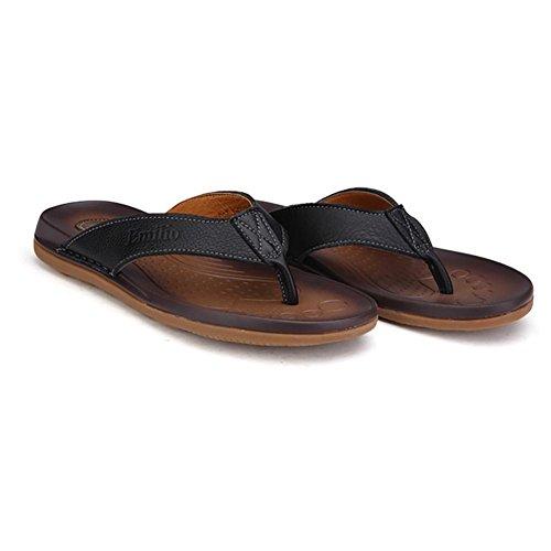 SHANGXIAN Sandales pour hommes Fashion New Style cuir véritable anti-dérapant Flip Flops/chaussons/vie quotidienne/plage Black