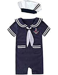 0dacdf31d Nyan Cat May's Baby Toddler Boys Sailor Stripe Romper Marine Navy Romper  Onesie Outfit