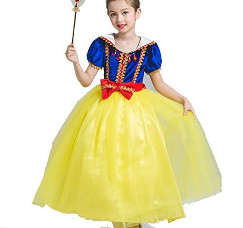 ZYLL Kinder Prinzessin Kleid, Party Fancy Dress Up Prinzessin Kleider FüR MäDchen Prinzessin KostüMe Prinzessin Dress Up Halloween KostüM Kleid FüR MäDchen,130CM (Kostüm Für Halloween Kids Belle)