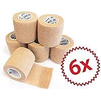 6 x cohesive Bandage I Haftbandage I Fixierverband I Sportbinde I elastisch I wasserfest I 5 cm, 4,5 m Länge (... preisvergleich bei billige-tabletten.eu