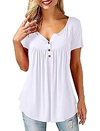 17eb7cf0b heekpek Camisas Mujer Manga Larga Corto Blusa Elegante Color Sólido Cuello  en V Botones Suelto Tops Casual Blusas.