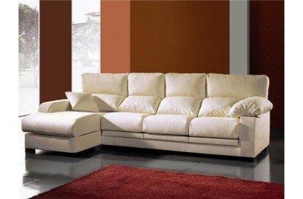 Sofá tres plazas con asientos deslizantes viscoelásticos y chaise longue izquierda