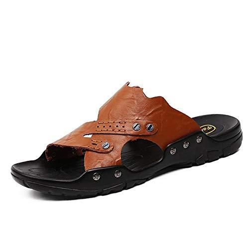 HILOTU Herren Sandalen Leder Open Toe Outdoor Mode Lässig Komfortable Sandalen Leichte Atmungsaktive Sommer Hausschuhe Für Männer Pu-leder (Color : Dunkelbraun, Größe : 44 EU) -