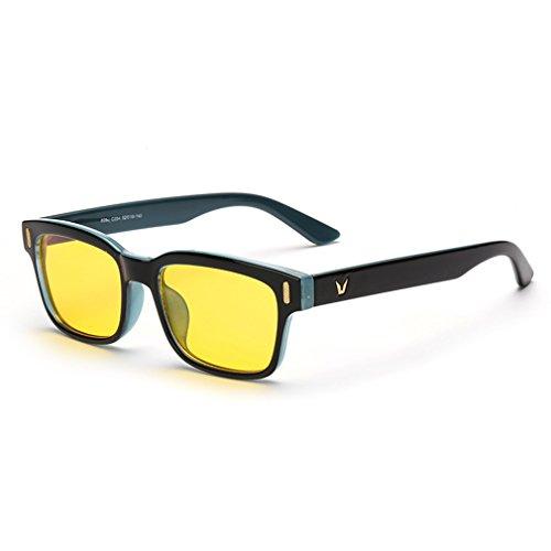Preisvergleich Produktbild rnow gelb getönte Computer Sonnenbrille Belastung der Augen perfekt für Gaming Blendschutz Gläser, Herren Jungen Kinder unisex damen, blau