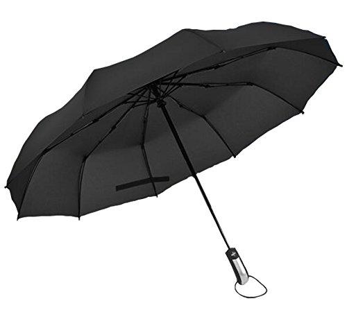 Bermud Automatischer Regenschirm, Anti-UVC, ABS Griff mit Zehn-Rippen Wind und hochwertigem Wasserabweisendem Stoff, kompakt und stabiler Taschenschirm , Klassischen Schwarz