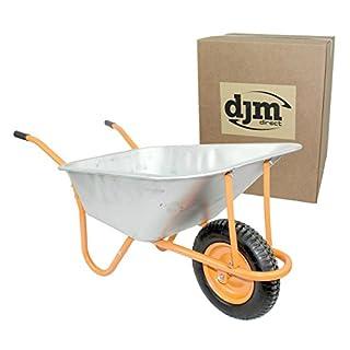 New DJM Heavy Duty Galvanised Steel Garden Wheelbarrow 90ltr 180kg - Pneumatic Tyre