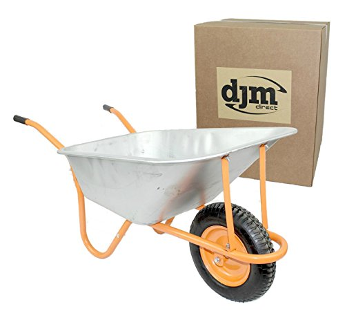 New DJM Heavy Duty Galvanised Steel Garden Wheelbarrow 90ltr 180kg - Pneumatic Tyre