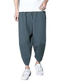 d2c841fd71ab Pantaloni da Lavoro Pantaloni Larghi degli Uomini Pantaloni di Lino in  Cotone Tasca Casuale Pantaloni alla