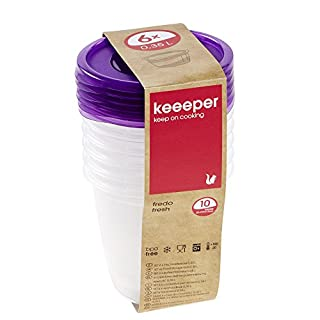 keeeper Frischhaltedosenset 6-teilig, 6 x 350 ml, Ø 9,5 x 9 cm, Fredo Fresh, Lila Transparent