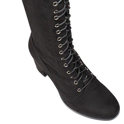 Ideal Shoes - Cuissardes à lacets effet daim Fabiela Noir