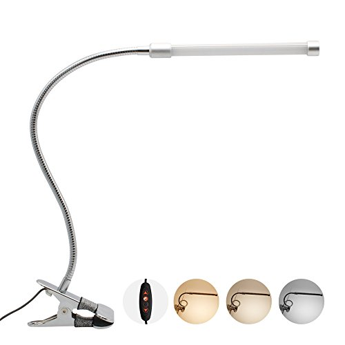 BAODE Dimmbar Tischlampe Klemmleuchte LED Tischlampe Stufenlose Klappbare LED Dreifarbige Schreibtischlampe Kalt/Warm/Natur weiß [Energieklasse A++]