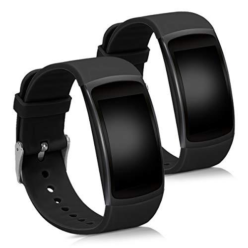 kwmobile Samsung Gear Fit2 / Gear Fit 2 PRO Cinturino in Silicone - 2X Fascetta con Fibbia ca. 13-20 cm per Samsung Gear Fit2 / Gear Fit 2 PRO
