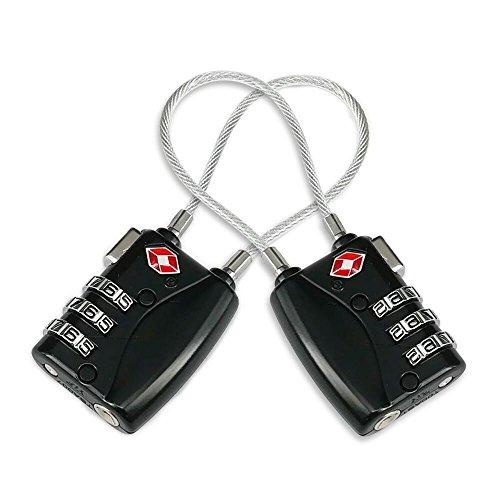 Jazzka Candado de Equipaje 2 Piezas TSA Seguridad Combinacion 3 Dígitos para Maletas de Viaje Gimnasio Negro