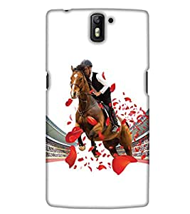 PrintHaat Designer Back Case Cover for OnePlus One :: OnePlus 1 :: One Plus One (horse rider in the stadium :: public applaud for the winner house :: love horse racing :: race course :: happiest winning moment :: in red, brown, black)