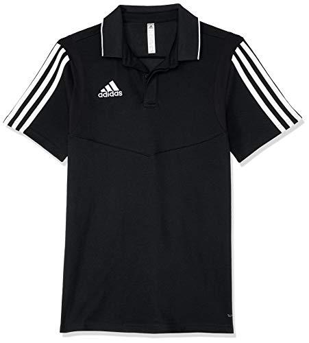 adidas TIRO19 COY Polo Shirt, Black/White, 11-12 Years -