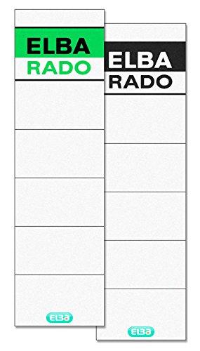 8 Cm Kurze (ELBA 100420956 Ordner Rückenschild rado brillant 10er Pack kurz/breit 240 g/m² zum Einstecken für Rückenbreite 8 cm weiß mit grün/schwarzem Logoaufdruck)