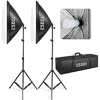 ESDDI Softbox, Kit Eclairage Studio Photo, 800W 2 Soft Box 50x70cm Lumière Continue 5500K pour Photo de Mode, Portrait, Produits Commerciaux, Packshot et Vidéo
