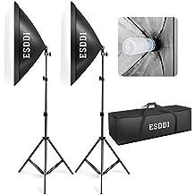 ESDDI Softbox Kit Luz de Iluminacion Estudio Fotografia, con 2 Lampara Fotografia 85W, 2 Ventana de Luz, 2 Tripodes, 1 Bolsa Portatil