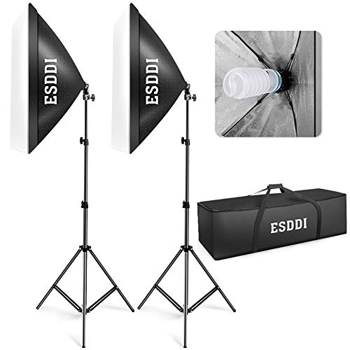 ESDDI Softbox Light Kit Studio Lighting Fotografia con 2 Bombilla de Foto 800W, 2 Ventana de luz 50x70cm, 2 Trípodes, 1 Bolsa de Transporte