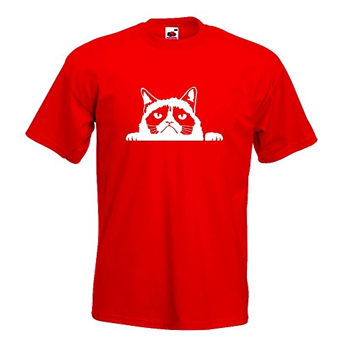 KIWISTAR - mürrische Katze T-Shirt in 15 verschiedenen Farben - Herren Funshirt bedruckt Design Sprüche Spruch Motive Oberteil Baumwolle Print Größe S M L XL XXL Rot