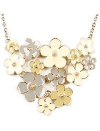 Calonice Amorino Joyeria Dama Collar de Declaracion Dorado, Amarillo, Gris, Amarillo obscuro racimo de Flor dorada pieza de Declaracion en cadena de oro una pieza 23x8cm(LxHxW)