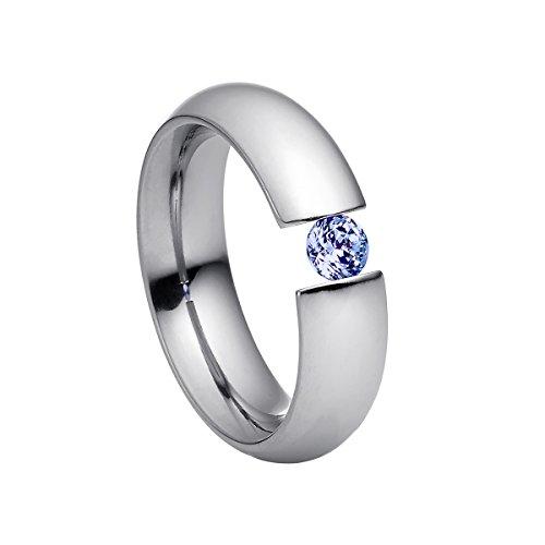 Heideman Ring Damen Intensio aus Edelstahl Silber farbend poliert Damenring für Frauen mit Swarovski Stein Zirkonia lila im Brillant Schliff 4mm