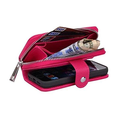 iPhone 5S Hülle, iPhone SE Hülle, Lifeturt [ Rosa ] 3 in1 Reißverschluss Viele Karte Card Slot PU Handtasche Leder Wallet Magnet Case Hülle Brieftasche Luxus Flip Business Zipper Tasche Holster Loch S E02-Rose