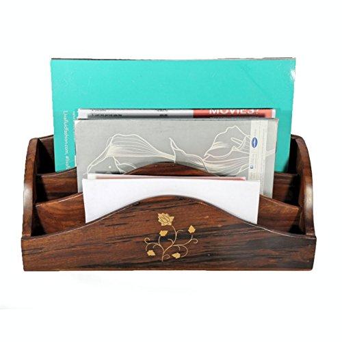 stylla London Sheesham handgeschnitzt Blume und Blätter Messing Design Buchstabe Rack Halter, marokkanischer Stil, Holz, braun, 31x 10x 17,8cm (Messing-buchstaben-halter)