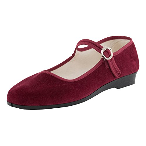 Japanwelt Original China-Samt-Schuhe für Damen, Größe 37, dunkel-rote Samtschuhe, Halbschuhe in Bordeaux mit Riemchen, roc Samtschuhe Ballerinas, Trachtenschuhe aus Samt