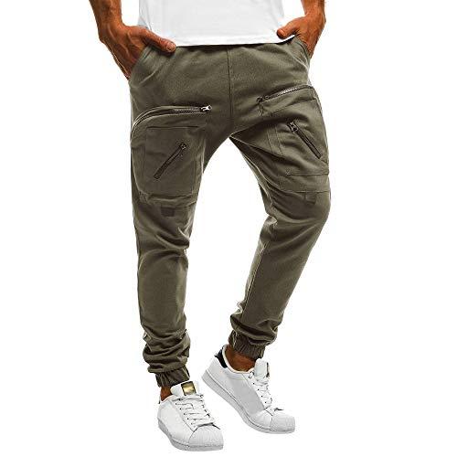 Cebbay Pantalones de chándal para Hombres Pantalones campeones Pantalones Casuales Costuras Sueltas con Cremallera en el Bolsillo (Ejercito Verde, EU Size XL = Tag 2XL)