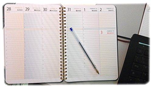 Agenda SETTIMANALE A5 15x21cm - Blocco spirale - CON ORARI - 1 settimana su 2 pagine