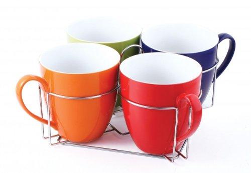 5-tlg. Becher-Set mit Ständer - Keramik Tassen 580 ml - Teetassen - Kaffeetassen - Geschirr - Tasse - Jumbotasse
