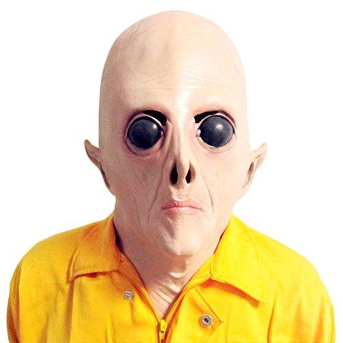 Auspicious beginning Scary UFO Alien Kopf Latex Maske für Erwachsene Kostüm ()