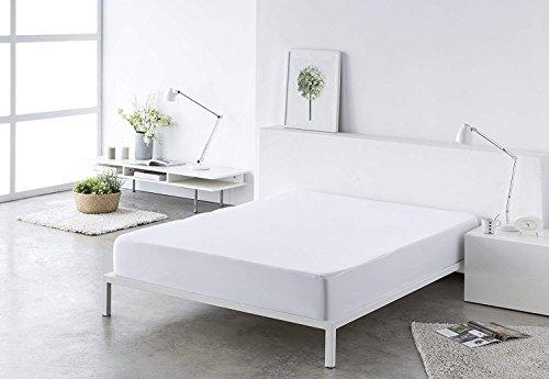 (Blanco) Sabana bajera ajustable, elástica 100% algodón de verano. Cama 150 x...
