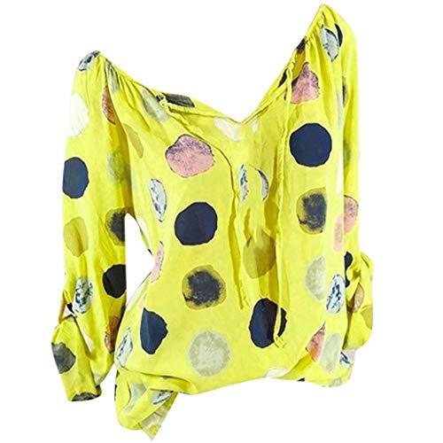Cap Sleeve Shirt Öse (TUDUZ Frauen Casual Three Quarter Sleeve V-Ausschnitt Button Top Patches Bluse Shirt Bademode)