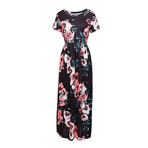 Lover-Beauty Kleider Damen Blumen Kleid Elegant Langarm Maxikleid Floral Print Böhmischen Strand Maxi Kleid Casual -