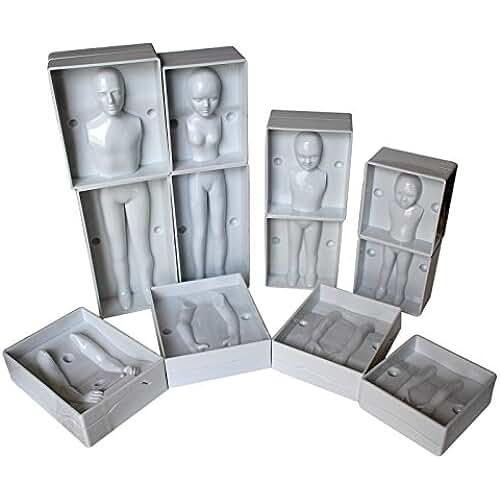 figuras kawaii porcelana fria Fondant Humanos por Kurtzy -Set 24 Piezas Moldes de Plástico Set Completo de Familia incluye 4 Tamaños -Hombre, Mujer y 2 Niños - Instrucciones Completas- Para Principiantes y Profesionale