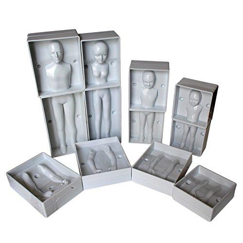 Fondant Humanos por Kurtzy  Set 24 Piezas Moldes de Plástico Set Completo de Familia incluye 4 Tamaños  Hombre, Mujer y 2 Niños   Instrucciones Completas  Para Principiantes y Profesionale