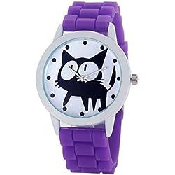 Rcool Reloj de Gato Movimiento de Cuarzo de Silicona del Gatito para Mujeres (Púrpura)