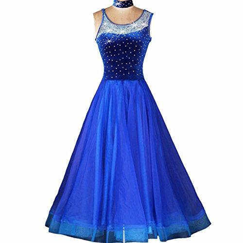 YC gut Frauen Standard Ballroom Dance Wettbewerb Kleider Strass Marine Royal Blau Kostüme für Frauen Blau Tango Walzer Kleider Modern Dance Kleid, A-Linie, MODE007-10 (Ballroom Kostüme Für Den Wettbewerb)