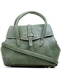 Hopping Street Stylish Elegance Fashion Green Color Faux Leather Handbag for Women